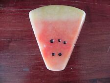 Marble Onyx Stone Carved Pink Green Watermelon Fruit Paperweight Figurine