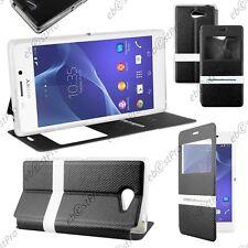 Accessoire Housse Coque Etui S-View Flip Cover Noir Sony Xperia M2 D2303
