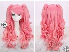 New woman pink long curly cosplay full wig + wigs pigtail