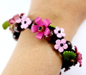 Pink Handcraft Genuine Leather Bracelet Flower Bangle Women Jewelry Fashion