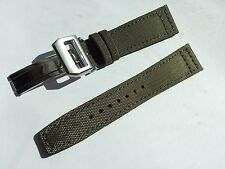 22mm Nylon Fabric Leather Watch Band Strap for iwc pilot & 18mm deployment clasp