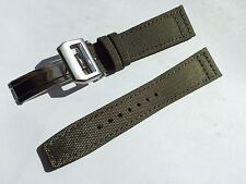 21mm Nylon / Fabric Leather Watch Band Strap for iwc  & 18mm deployment clasp