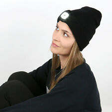 Strickmütze Beanie Mütze Kopflampe LED (180lm) inkl Akku (USB aufladbar) schwarz