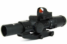 TacFire 1-4 x24mm Illuminated Center Dot Rifle Scope w/Mini Red Dot & Cantilever