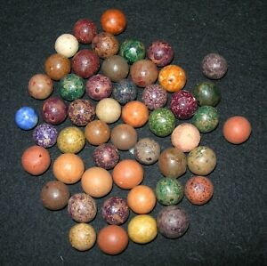 Antique Lot of 49 Clay Marbles & One Bennington Marble
