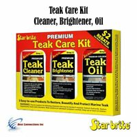 Starbrite Premium Teak Care Kit Cleaner Brightener Oil Long Lasting 081216
