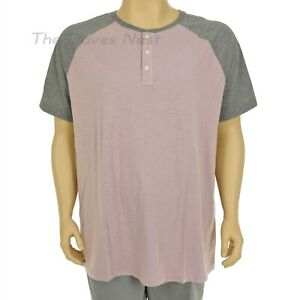 FOUNDRY Young Men's 2XLT Short Sleeve PURPLE & GRAY Colorblock HENLEY SHIRT