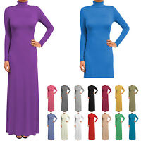 Womens Ladies Long Sleeve Full Length Maxi Dress/ Polo neck/ Turtle neck Fitted