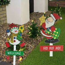 Christmas Signs For Garden Wooden Santa And Snowman NEW
