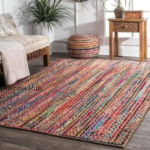 Rug jute cotton Braided style Ruuner carpet reversible Modern Living area Rugs