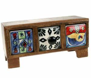 Hand Painted Trinket Mango Wood Box | 3 x Ceramic Drawers | Fair Trade Ethical