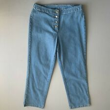NEXT • vintage 90's Blue Cropped Ankle Button Fly Mom Jeans • Size 10 • NEW