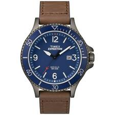 Timex TW4B10700, Men's Expedition Brown Leather Watch, Indiglo, Date, Blue Dial