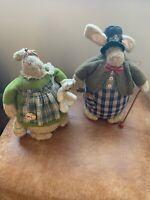 Pair Of Vintage Style Ornamental Display Rabbits