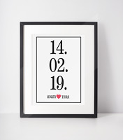 Personalised Date Couple Engagement Wedding Heart A4 Print Gift Anniversary