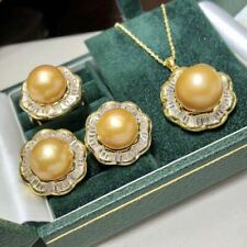Certified Natural Gold Pearl 18K Gold Plated Earrings Pendant Ring Set Gift
