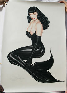 OLIVIA De Berardinis Lithograph, UP PERISCOPE, Bettie Page, Limited Signed, 1990