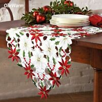 Embroidered Table Runner Holly Poinsettia Table Runner for Home Christmas Decor