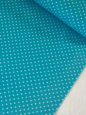 "1 Meter Turquoise 3mm Polka Dot Print 100% Pure Cotton Fabric 45""Wid Dress Craft"