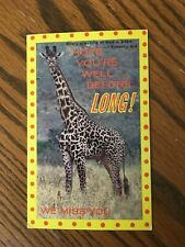 """Giraffe with note """"Hope You're well before Long""""  """"We miss you."""" 1 Tim. 4:4"""