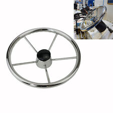 13-1/2'' 5 Spoke Destroyer Style Stainless Steel Polished Boat Steering Wheel