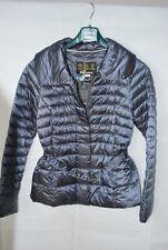 Barbour Tartan Navy Luxe Borthwick Belted Quilted Jacket UK 18