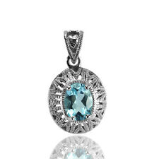 Natural Sky Blue Topaz Solid 925 Sterling Silver Victorian Style Pendant (gp349)
