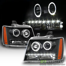 Black 2007-2013 Chevy Suburban Tahoe Avalanche LED DRL Halo Projector Headlights