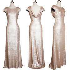 Elegant Wedding Bridesmaid Evening Sequin Rose Gold Prom Women Dress Long Ball