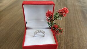 925 Sterling Silver Cubic Zirconia Wedding / Engagement band ring.