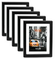 "Cavepop 8x10"" Black Wood Textured Picture Frames - Set of 5"