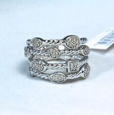David Yurman Confetti Four Row Diamond Ring Sterling Silver Size 6 $825 New
