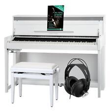 88 Keys Digital Upright Electric Piano 40 Sounds USB Bench Headphones White Set