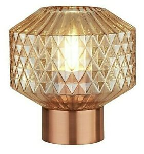 Lighting Collection LED Light Copper Base Amber Table Lamp With Textured Glass