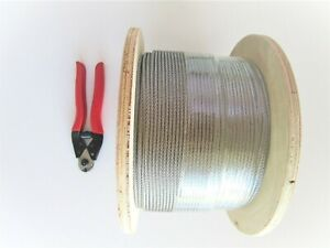 3.2mm Stainless Steel G316 Wire Cable Rope - 1 x 19 - 305m roll + cutter