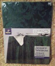 Green Jacquard Oval Tablecloth