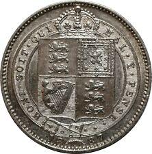 WCA Great Britain One Shilling 1887 Victoria Silver Lot #357