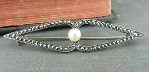 Judith Jack Deco Style Sterling Silver Marcasite and Pearl Bar Pin