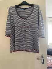 Boden Stripy Long Sleeve Top Size 18 Pink Piping