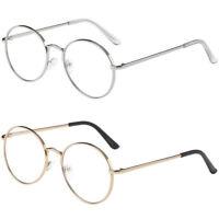 Mens Womens Fashion Round Retro Metal Frame Clear Lens Eye Glasses Circle