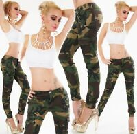 Jeans Camouflage Cargo Chino Hose Röhrenjeans Skinny Army Look Grün XS S M L XL