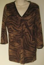 Maggie T Animal Print Size 16 Mesh Top with 3/4 Sleeves