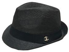 Mens Summer Lightweight Straw Fedora Hat Short Brim With Grosgrain Band Black