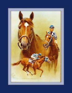 Secretariat Triple Crown Artist Fred Stone 11x14 Double Matted 8x10 Art Print