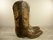Vintage Cowboy Joe 2-Tone Pull On Leather Mens Western Rodeo Riding Boots Size 8