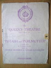 QUEEN'S THEATRE PROGRAMME 1914- POTASH & PERLMUTTER by Montague Glass