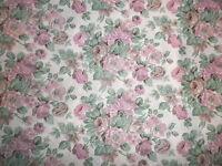 Vintage 1960's 70's Crisp Cotton Dress Making Fabric Pink Green Old Roses