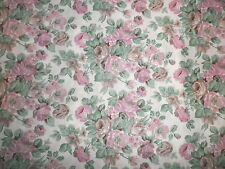 Vintage 1960's 70's Crisp Cotton Dress Making Fabric Pink Green Old Roses