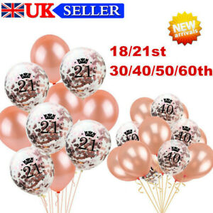 10X Rose Gold Happy Birthday Bunting Banner Balloons 18/21/30/40/50 Party Decor