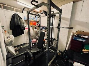 Powertec power rack gym free weight barbell 7ft bench complete lat tower 235kg